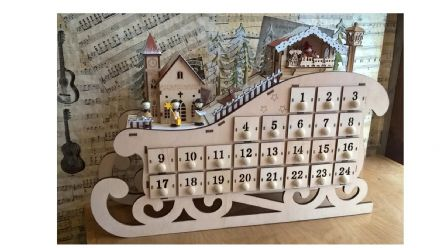 Wooden Musical Advent Sleigh 56096